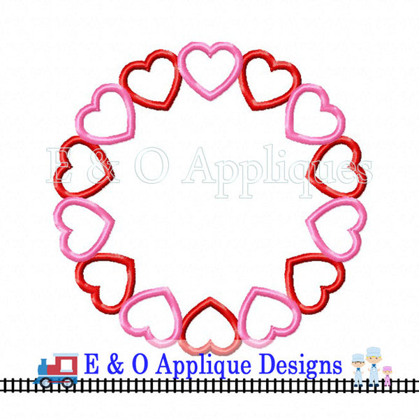 Hearts Frame Digital Embroidery Design