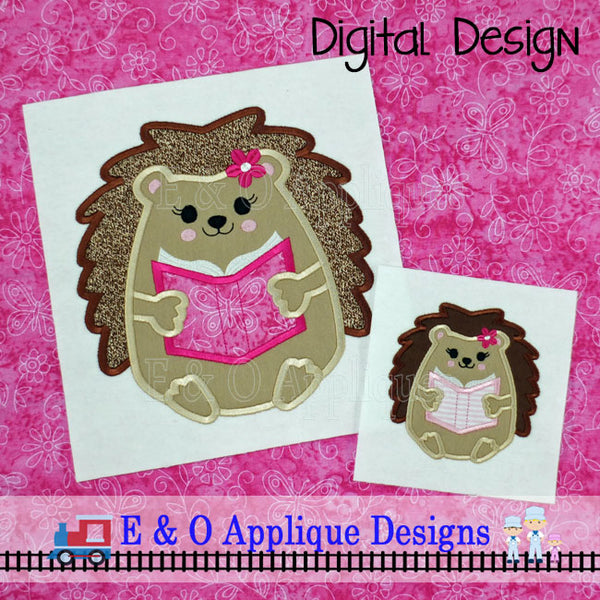 Hedgehog Girl Book Applique Design
