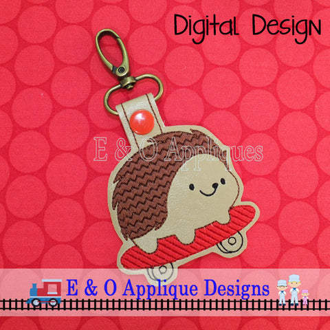 Hedgehog Skateboard Snap Tab Embroidery Design