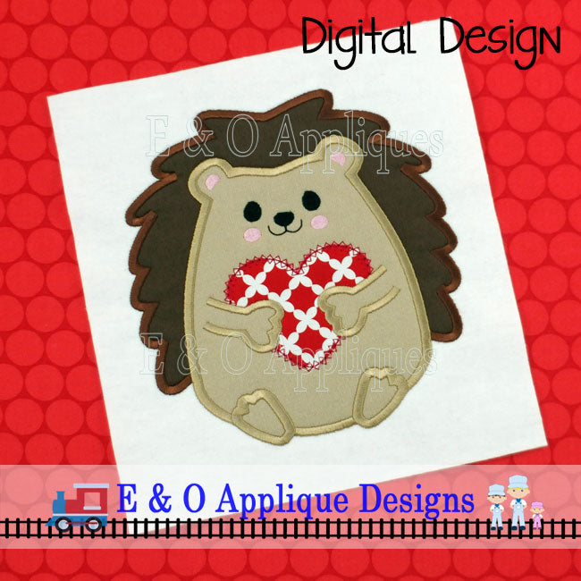 Hedgehog Heart Applique Design