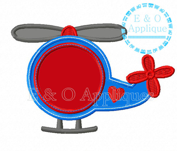 Helicopter Monogram Heart Applique Design