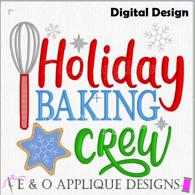 Holiday Baking Crew Embroidery Design