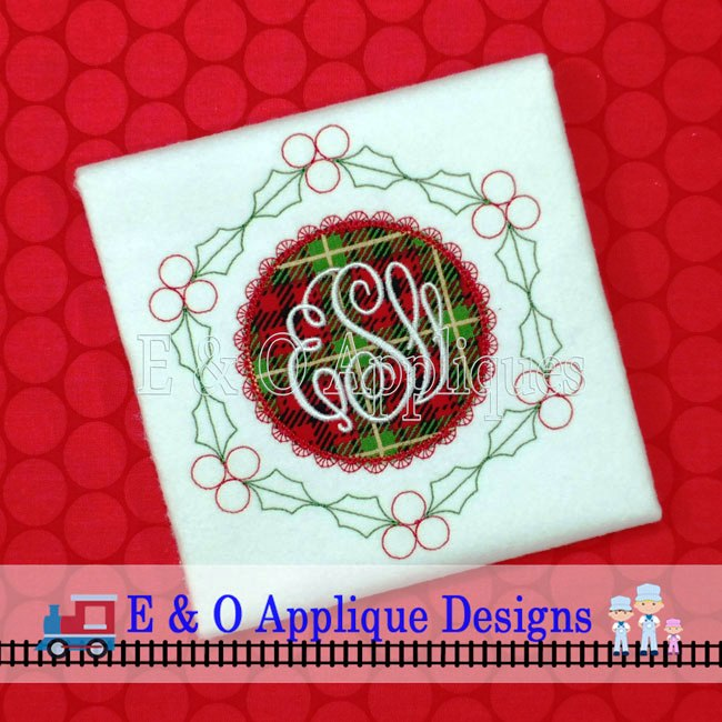 Holly Vintage Lace Monogram Frame Digital Embroidery Design
