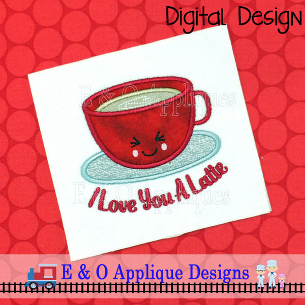 I Love You A Latte Kawaii Applique Design