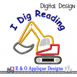 I Dig Reading Applique Design