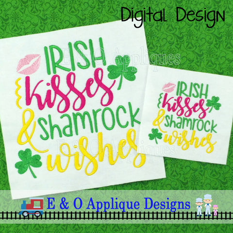 Irish Kisses & Shamrock Wishes Embroidery Design