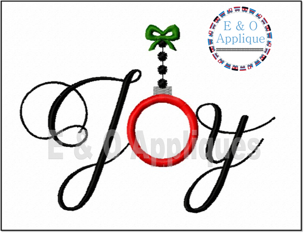 Joy Ornament Digital Applique Design