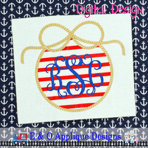 Knot Rope Monogram Frame Applique