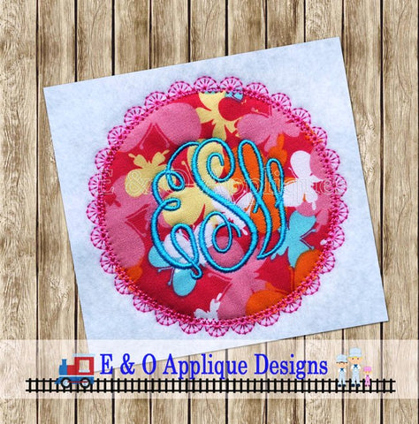 Lace Circle Monogram Applique Design