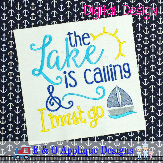 Lake Is Calling Embroidery Design