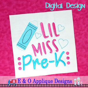 Little Miss Pre K Embroidery Design