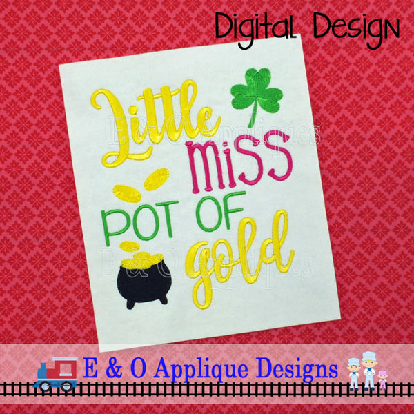 Little Miss Pot of Gold Embroidery Design