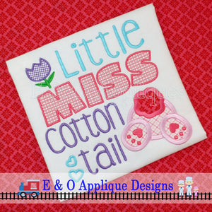 Little Miss Cotton Tail Digital Applique Design