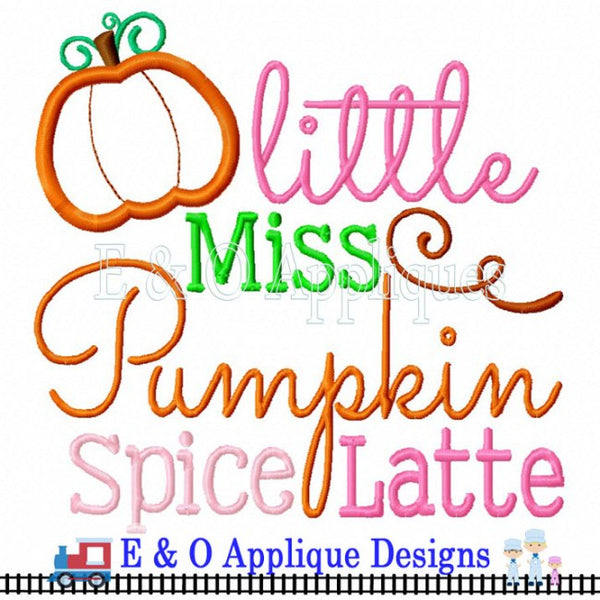 Little Miss Pumpkin Spice Latte Digital Embroidery Design
