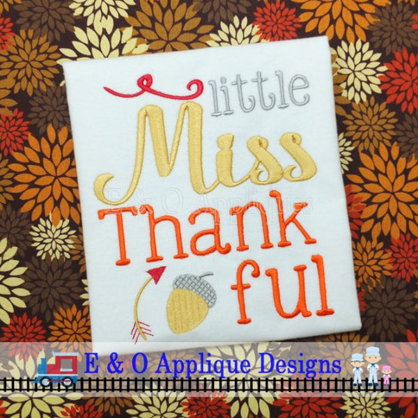 Little Miss Thankful Digital Embroidery Design