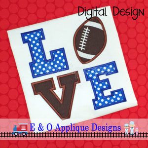 Football Love Applique Design