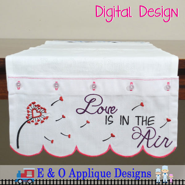 In The Hoop Table Runner - Love Is In The Air 200 x 360 Hoop