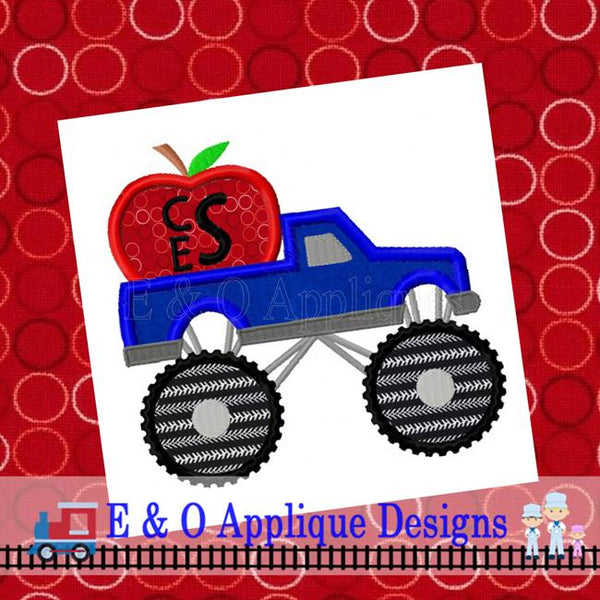 Monster Truck Apple Applique Design