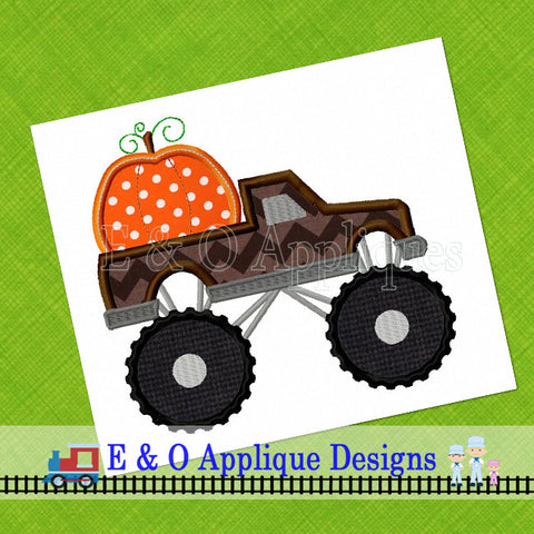 Monster Truck Pumpkin Digital Applique Design