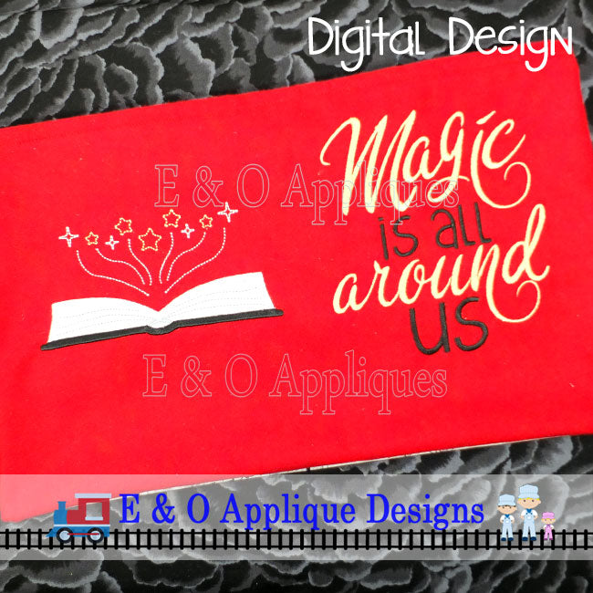 Magic Saying and Book Set Embroidery Design