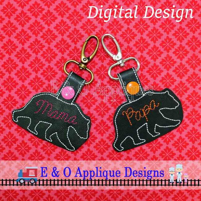 Mama Bear and Papa Bear Snap Tab Embroidery Design Set