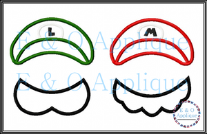 Plumber Bros Inspired Hat and Mustaches Applique