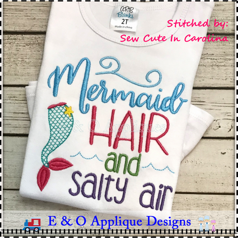 Mermaid Hair and Salty Air Embroidery Design