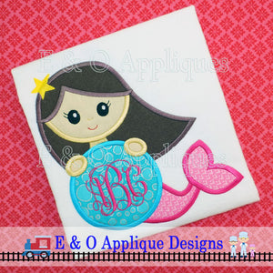 Mermaid Monogram Digital Applique Design