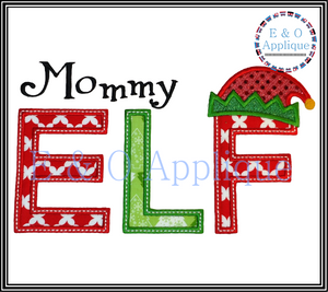 Mommy and Daddy Elf Applique Design Set