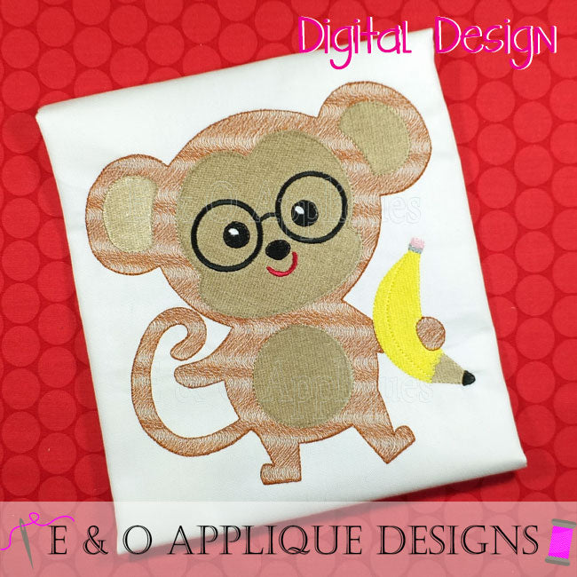 Back to School Monkey Embroidery