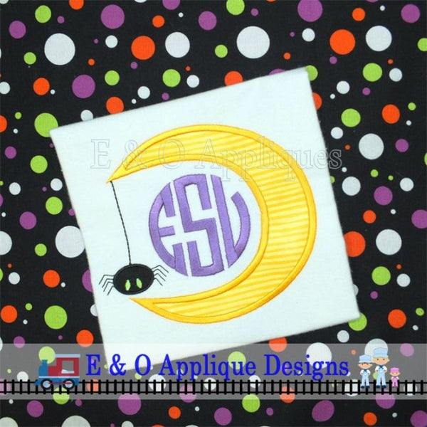Moon Spider Monogram Frame Digital Applique Design