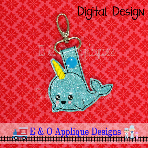 Narwhal Snap Tab Embroidery Design