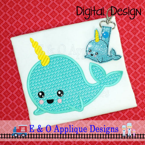 Narwhal Applique and Snap Tab Embroidery Design Set