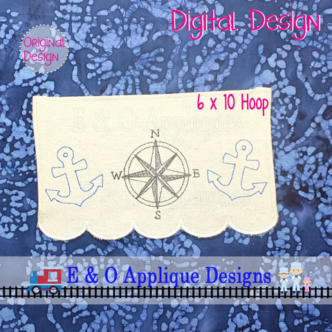 In The Hoop Table Runner - Nautical Embroidery 6 x 10 Hoop