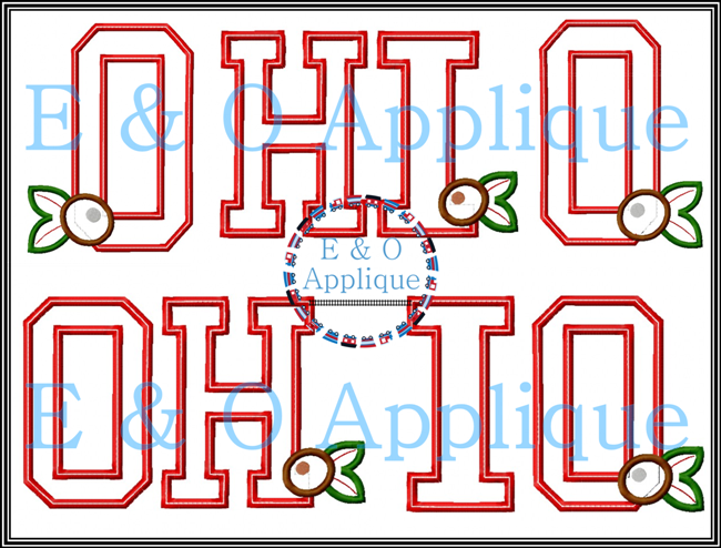 OHIO Buckeye Applique Design Set Straight