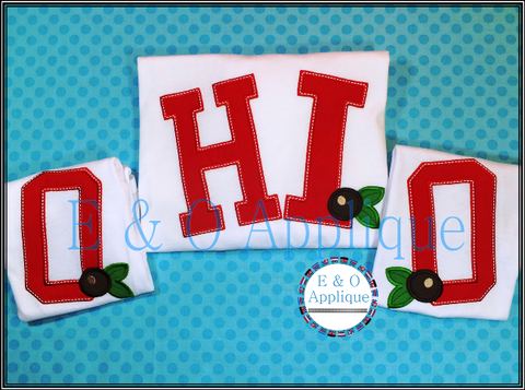 OHIO Buckeye Applique Design Set Slanted
