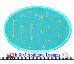Oval Satin Stitch with Bean Stitch Applique Design