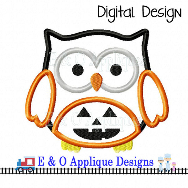 Owl Jack-O-Lantern Applique Design