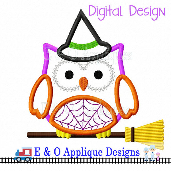 Owl Witch on Broom Applique Design