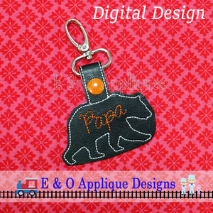 Papa Bear Snap Tab Embroidery Design
