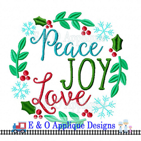 Peace Joy and Love Digital Embroidery Design