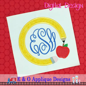 Pencil Apple Monogram Applique Frame