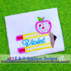 Split Pencil and Apple Digital Applique Design