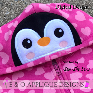 Penguin Peeker Applique Design