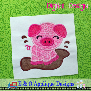 Piggy in Mud Applique Design