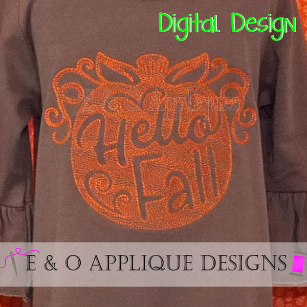 Pumpkin Hello Fall Motif Fill Embroidery Design