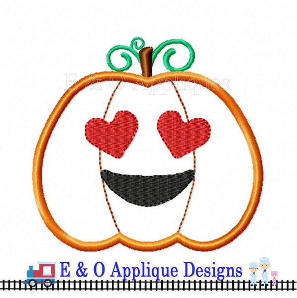 Emoji Heart Eyes Pumpkin Digital Applique Design