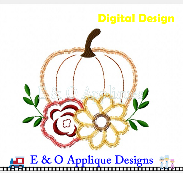 Pumpkin Flowers Zig Zag Applique
