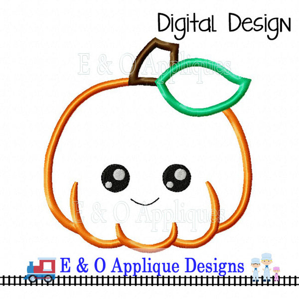 Pumpkin Kawaii Applique Design