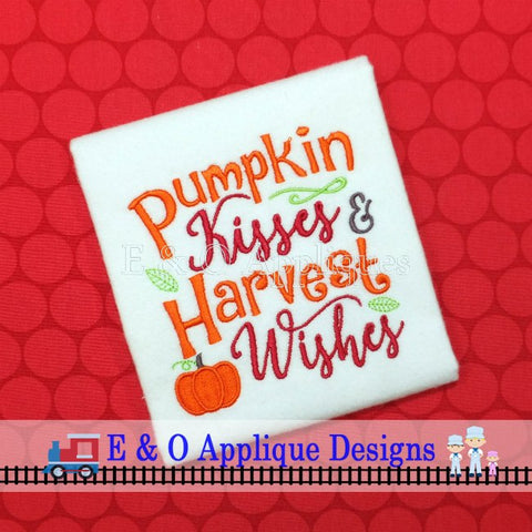 Pumpkin Kisses and Harvest Wishes Digital Embroidery Design